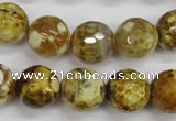 CAG4865 15 inches 14mm faceted round dragon veins agate beads