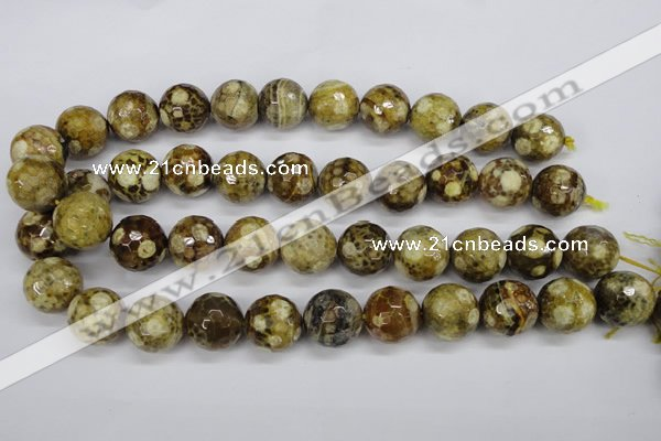CAG4867 15 inches 18mm faceted round dragon veins agate beads