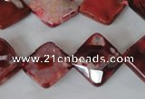 CAG4886 15 inches 14*14mm faceted diamond fire crackle agate beads