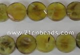CAG4891 15 inches 12mm faceted coin fire crackle agate beads