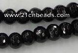 CAG5069 15.5 inches 7*11mm faceted rondelle black agate beads