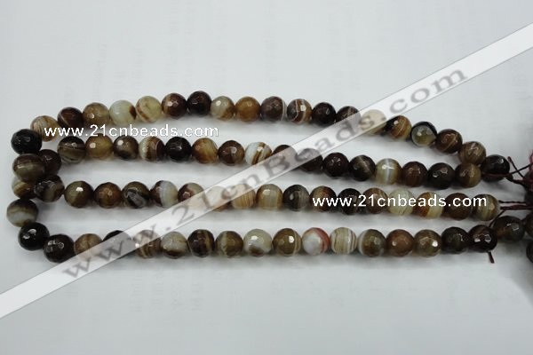 CAG5107 15.5 inches 8mm faceted round line agate beads wholesale