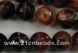CAG5115 15.5 inches 14mm faceted round line agate beads wholesale