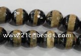 CAG5145 15 inches 10mm faceted round tibetan agate beads wholesale
