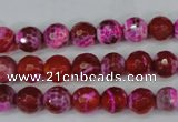 CAG5182 15 inches 8mm faceted round fire crackle agate beads