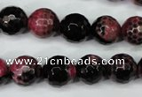 CAG5200 15 inches 12mm faceted round fire crackle agate beads