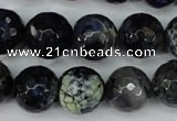 CAG5225 15 inches 14mm faceted round fire crackle agate beads