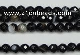 CAG5272 15.5 inches 6mm faceted round black line agate beads