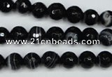 CAG5273 15.5 inches 8mm faceted round black line agate beads
