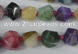 CAG5491 15.5 inches 13*13mm faceted nuggets agate gemstone beads