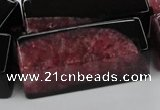 CAG5543 15.5 inches 15*15*40mm cuboid agate druzy geode beads