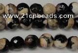 CAG5666 15 inches 6mm faceted round fire crackle agate beads