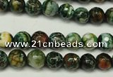 CAG5696 15 inches 8mm faceted round fire crackle agate beads