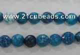 CAG5697 15 inches 8mm faceted round fire crackle agate beads