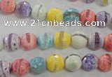 CAG5706 15 inches 8mm faceted round tibetan agate beads wholesale