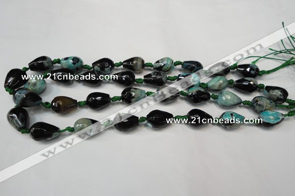 CAG5722 15 inches 12*16mm faceted teardrop fire crackle agate beads