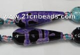 CAG5762 15 inches 10*30mm faceted teardrop fire crackle agate beads