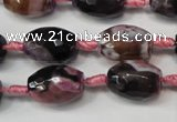 CAG5783 15 inches 12*16mm faceted rice fire crackle agate beads