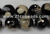 CAG5855 15 inches 16mm faceted round fire crackle agate beads