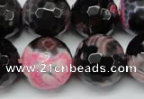 CAG5877 15 inches 18mm faceted round fire crackle agate beads