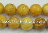 CAG5941 15.5 inches 12mm round yellow crazy lace agate beads