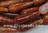 CAG596 15.5 inches 10*30mm teardrop natural fire agate beads