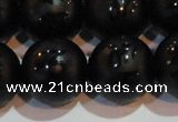 CAG6005 15.5 inches 14mm carved round matte black agate beads