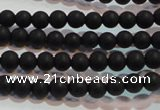 CAG6010 15.5 inches 4mm round matte black agate beads
