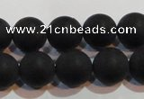 CAG6013 15.5 inches 10mm round matte black agate beads