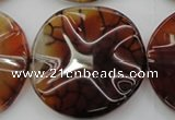 CAG6057 15.5 inches 40mm wavy coin dragon veins agate beads