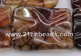 CAG6067 15.5 inches 30*40mm wavy rectangle dragon veins agate beads
