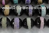 CAG6135 15 inches 8mm faceted round tibetan agate gemstone beads