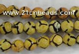CAG6167 15 inches 12mm faceted round tibetan agate gemstone beads