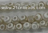 CAG6172 15 inches 12mm faceted round tibetan agate gemstone beads