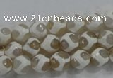 CAG6175 15 inches 8mm faceted round tibetan agate gemstone beads