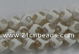 CAG6177 15 inches 12mm faceted round tibetan agate gemstone beads