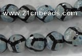 CAG6187 15 inches 12mm faceted round tibetan agate gemstone beads