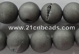CAG6226 15 inches 16mm round plated druzy agate beads wholesale