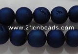 CAG6244 15 inches 12mm round plated druzy agate beads wholesale