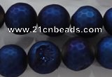 CAG6258 15 inches 20mm faceted round plated druzy agate beads