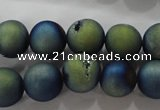 CAG6262 15 inches 8mm round plated druzy agate beads wholesale