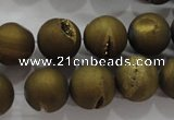 CAG6275 15 inches 14mm round plated druzy agate beads wholesale