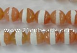 CAG6350 15 inches 8mm faceted round tibetan agate gemstone beads