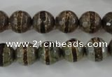 CAG6366 15 inches 8mm faceted round tibetan agate gemstone beads
