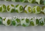 CAG6376 15 inches 12mm faceted round tibetan agate gemstone beads