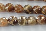 CAG6378 15 inches 8mm faceted round tibetan agate gemstone beads