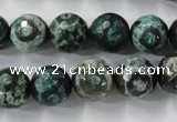 CAG6397 15 inches 12mm faceted round tibetan agate gemstone beads