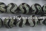 CAG6401 15 inches 12mm faceted round tibetan agate gemstone beads