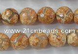 CAG6419 15 inches 10mm faceted round tibetan agate gemstone beads