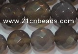 CAG6539 15.5 inches 16mm faceted round Brazilian grey agate beads